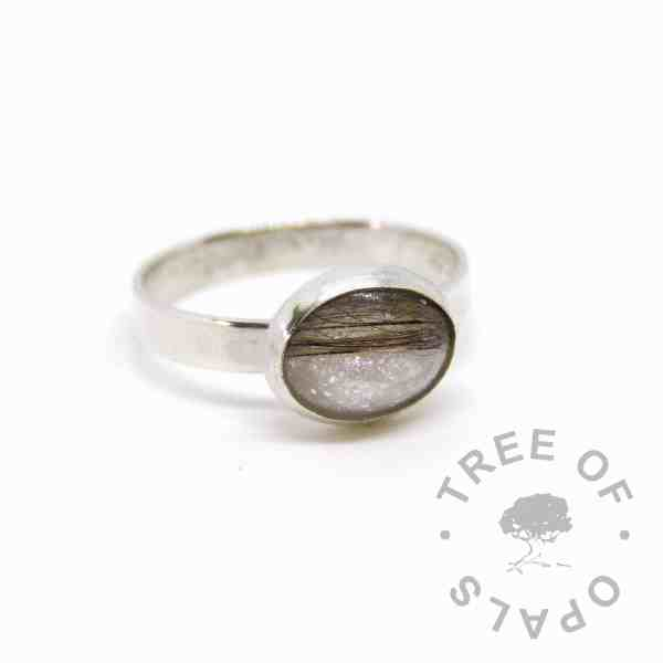 Unicorn white sparkle mix and brunette hair ring on brushed 3mm wire band, handmade by Tree of Opals pet memorial ring