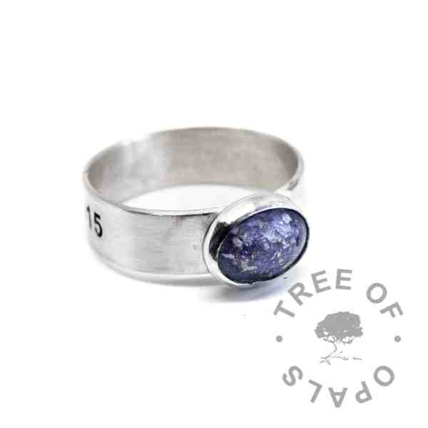 aegean blue ash ring 6mm brushed band ring engraved