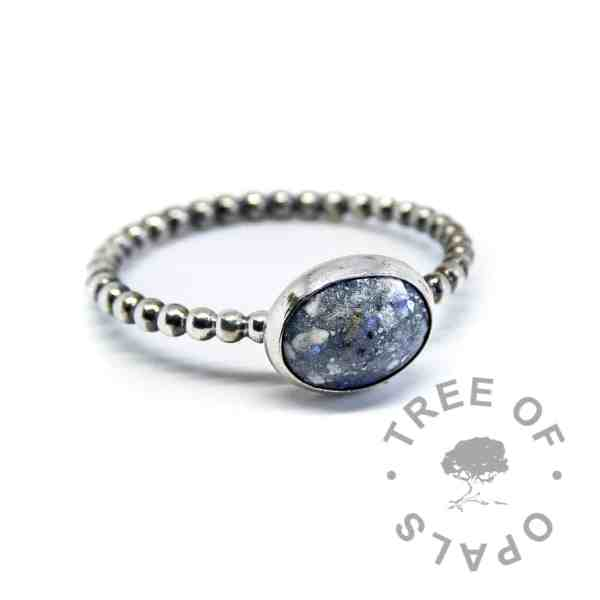 aegean blue ash ring on bubble wire band