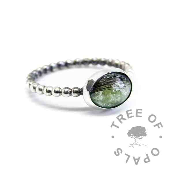 basilisk green lock of hair ring on bubble wire band made of argentium silver (purer than sterling), handmade from scratch
