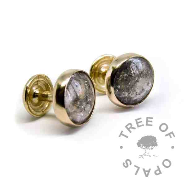 solid 14ct gold cremation ash cufflinks with October birthstone and clear resin