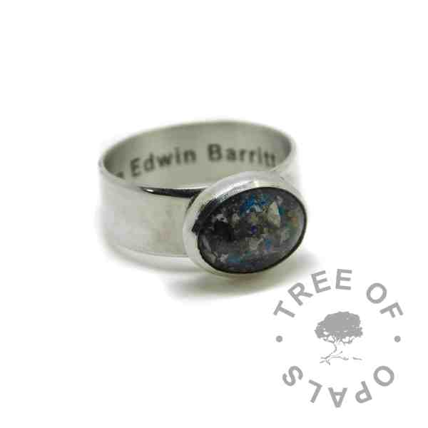 6mm wide band cremation ash ring with engraving, ash with Aegean blue sparkle mix