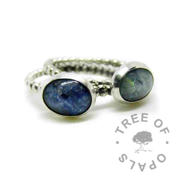 bubble wire ash rings with Aegean blue and mermaid teal sparkle mix