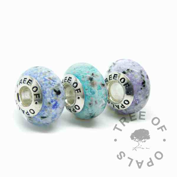 glass ash charm trio in blue, teal and purple (colour mockup). Handmade solid sterling silver charm beads for Pandora bracelets, memorial jewellery by Tree of Opals