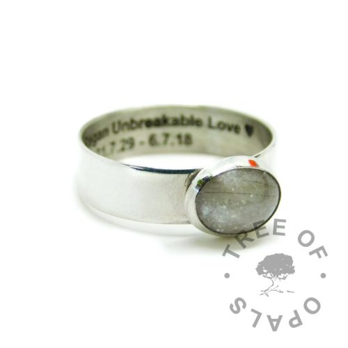 6mm shiny band hair ring engraved inside memorial in arial font, white hair and unicorn white resin sparkle mix