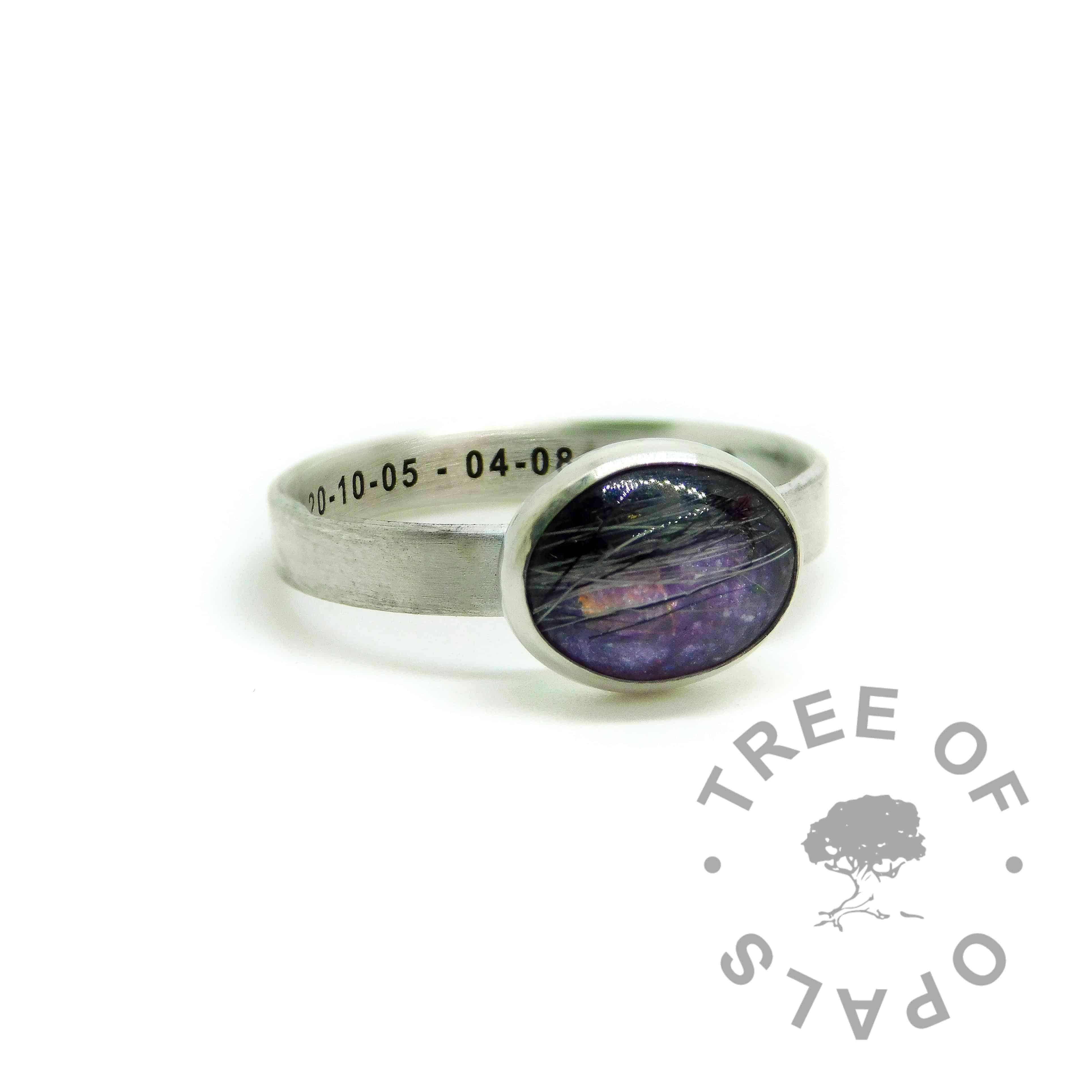 fur ring engraved with memorial dates in arial font, orchid purple sparkle mix, brushed band