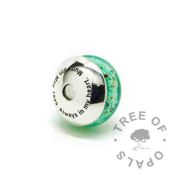 green glass cremation charm with solid sterling silver Tree of Opals core and engraved charm washer with glass cremation charm