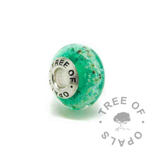 green glass cremation charm with solid sterling silver Tree of Opals core
