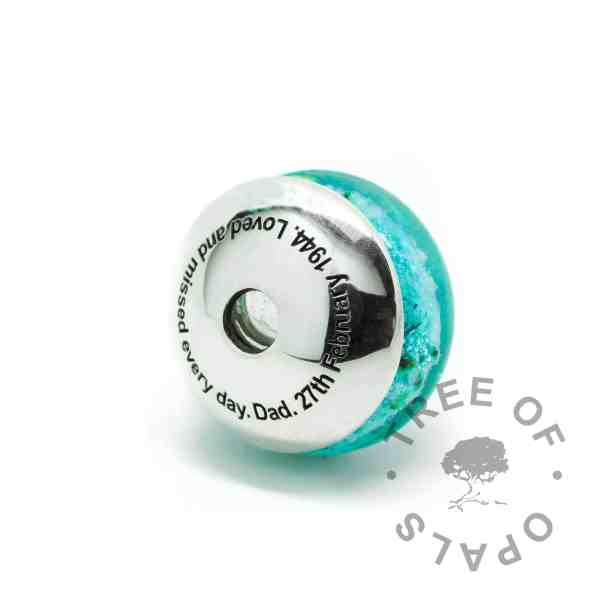 teal glass cremation charm with solid sterling silver Tree of Opals core and engraved charm washer with glass cremation charm