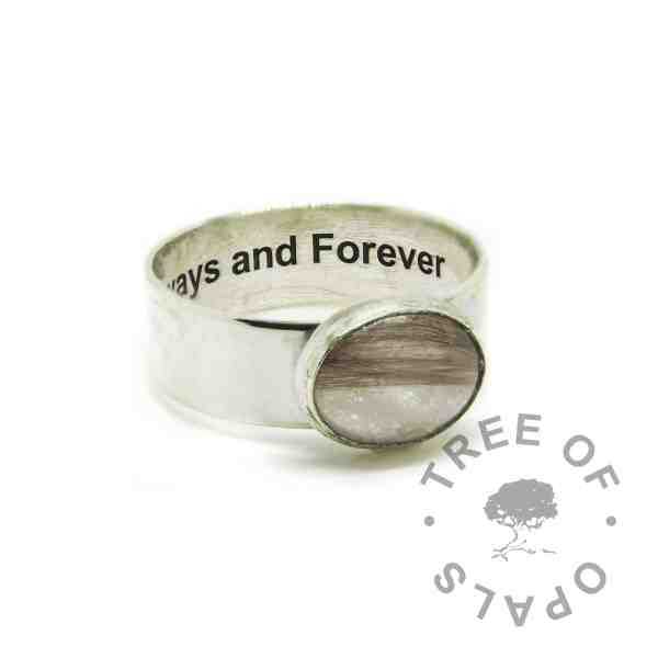 memorial jewellery engraved solid eco silver 6mm wide band shiny ring with brown hair and white sparkle mix