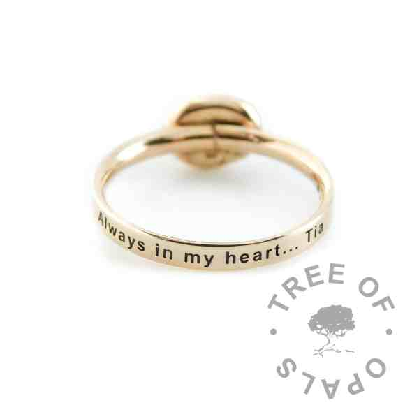 engraved 14ct gold ring band shiny band, arial font text engraving