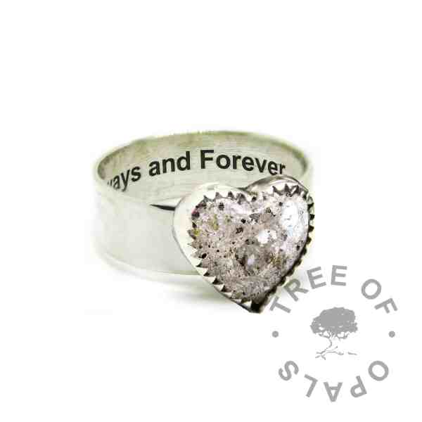 engraved solid eco silver 6mm wide band shiny ring with cremation ash and white sparkle mix