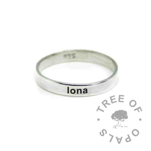 3mm brushed engraved ring, memorial ring from Tree of Opals with solid sterling EcoSilver band. Engraved on the outside in Arial font