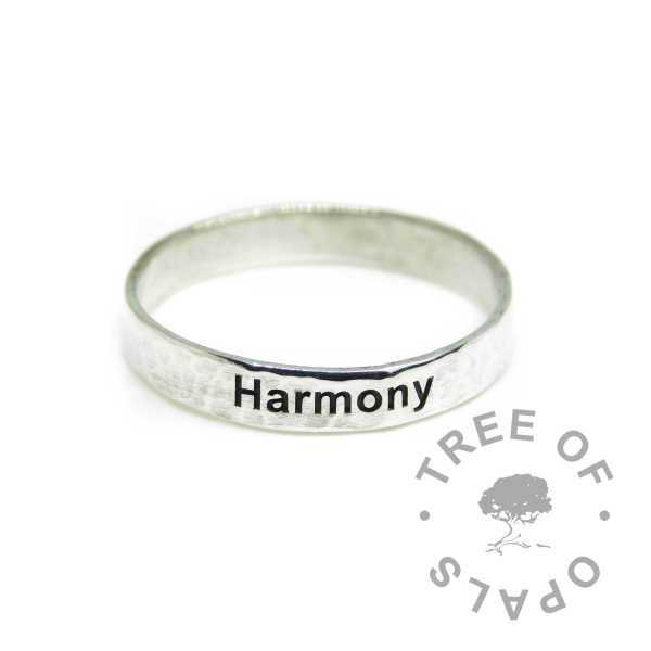 textured engraved ring, memorial ring from Tree of Opals with solid sterling EcoSilver band. Engraved on the outside in Arial font
