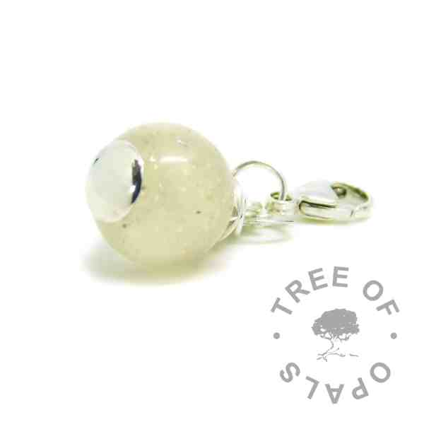 Handmade solid sterling silver cremation ash dangle charm pearl for Thomas Sabo style bracelets, lobster clasp, resin and cremation ashes with unicorn white sparkle mix ash pearl ash bracelet cremains bracelet