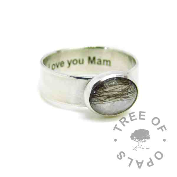 Engraved 6mm lock of hair ring with unicorn white sparkle mix and dark brown hair. Engraved inside in Arial font. Handmade solid sterling silver memorial ring