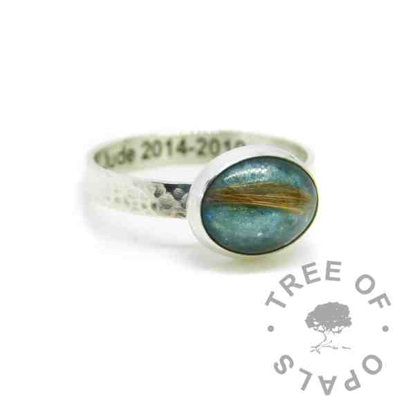 Engraved textured band lock of hair fur ring with mermaid teal resin sparkle mix and strawberry blonde hair. Engraved inside in Arial font. Handmade solid sterling silver memorial ring fur ring memorial silver ring