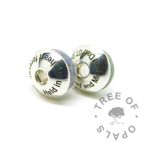 Arial font engraved charm washers, memorial charm duo (two charms, two washers). Washers are not attached to charms, sold separately. Handmade with solid sterling EcoSilver, 925 stamped on the back. Watermarked copyright Tree of Opals memorial jewellery image