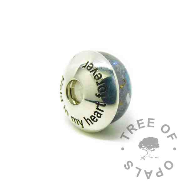 Arial font engraved charm washer, memorial charm shown with washer. Washers are not attached to charms, sold separately. Handmade with solid sterling EcoSilver, 925 stamped on the back. Watermarked copyright Tree of Opals memorial jewellery image