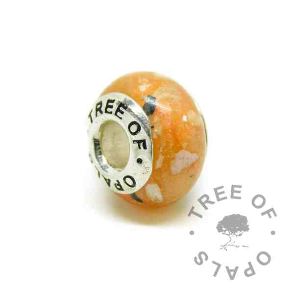 tangerine orange cremation ash charm