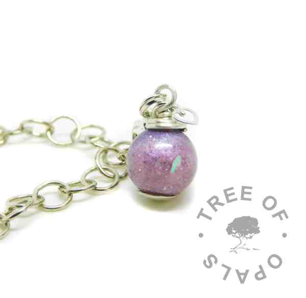 orchid purple cremation ash pearl lobster clasp setting, shown on large link chain (sold seperately)