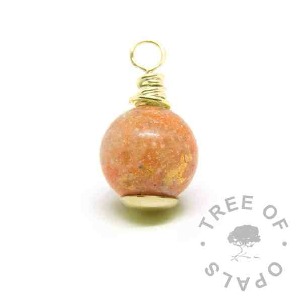 cremation ash gold pearl with gold leaf, yellow topaz November birthstone and tangerine shimmer