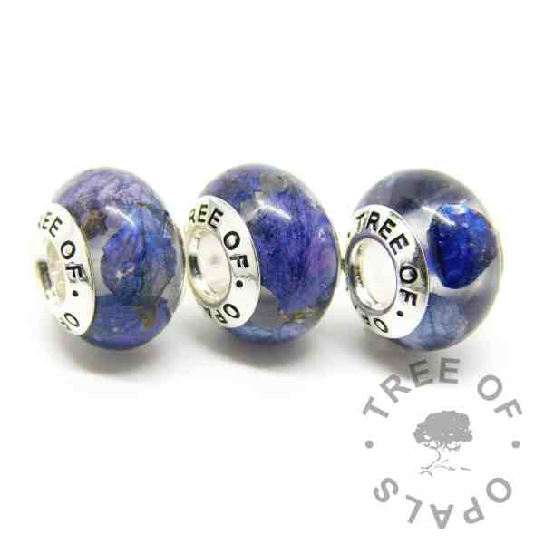 petal charm trio with September birthstone rough natural sapphire