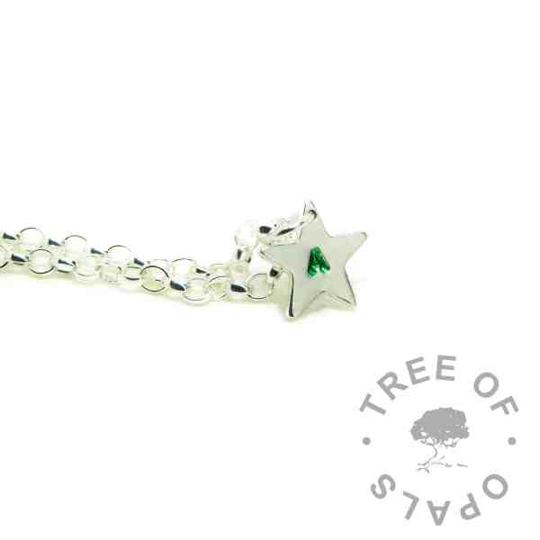 small star pendant with letter handstamped, and medium classic chain upgrade. The handstamping has green tinting