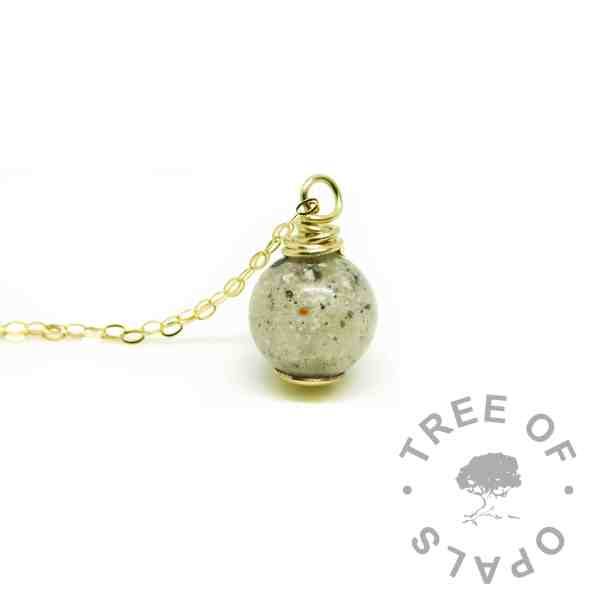 solid gold ashes pearl - gold cremation ashes necklace memorial jewellery