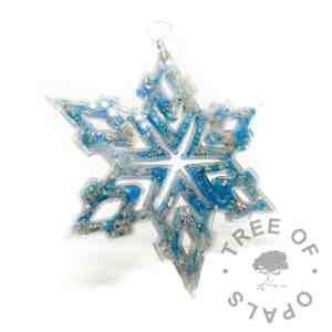 Aegean blue cremation ashes ornament for Christmas. Memorial ornament