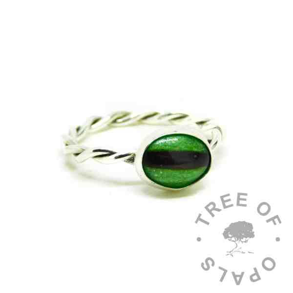 green hair ring. Twisted wire band, Argentium silver 935 purity