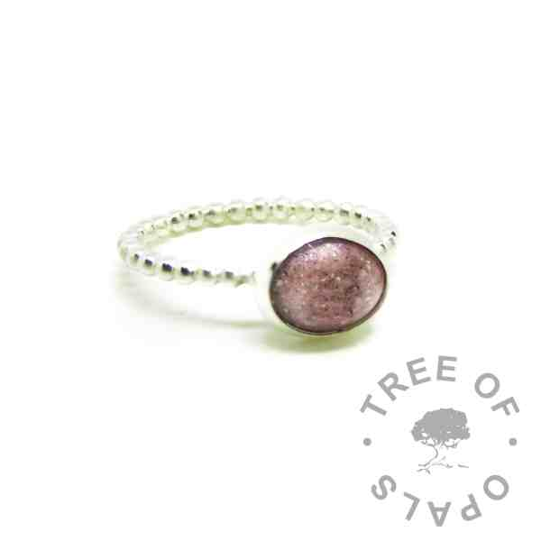 fairy pink cremation ashes ring. Bubble wire band, Argentium silver 935 purity