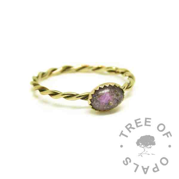 purple gold cremation ashes ring, orchid purple resin sparkle mix, 14ct gold twisted wire band