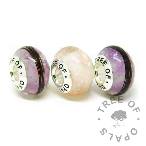 pink and purple horse hair charm beads for Pandora bracelets, fairy pink resin sparkle mix