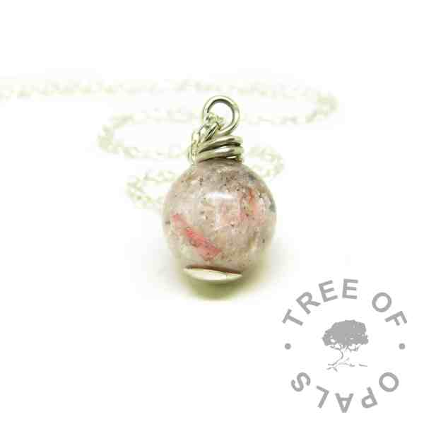 pink ashes pearl necklace, fairy pink resin sparkle mix