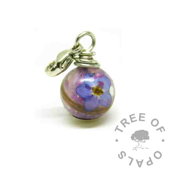 purple hair pearl, orchid purple resin sparkle mix and forget me not, wire wrapped argentium silver setting. Lobster clasp for Thomas Sabo style large link bracelets