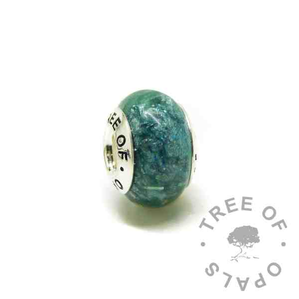 ashes charm with Tree of Opals core, mermaid teal resin sparkle mix cremation ashes charm bead