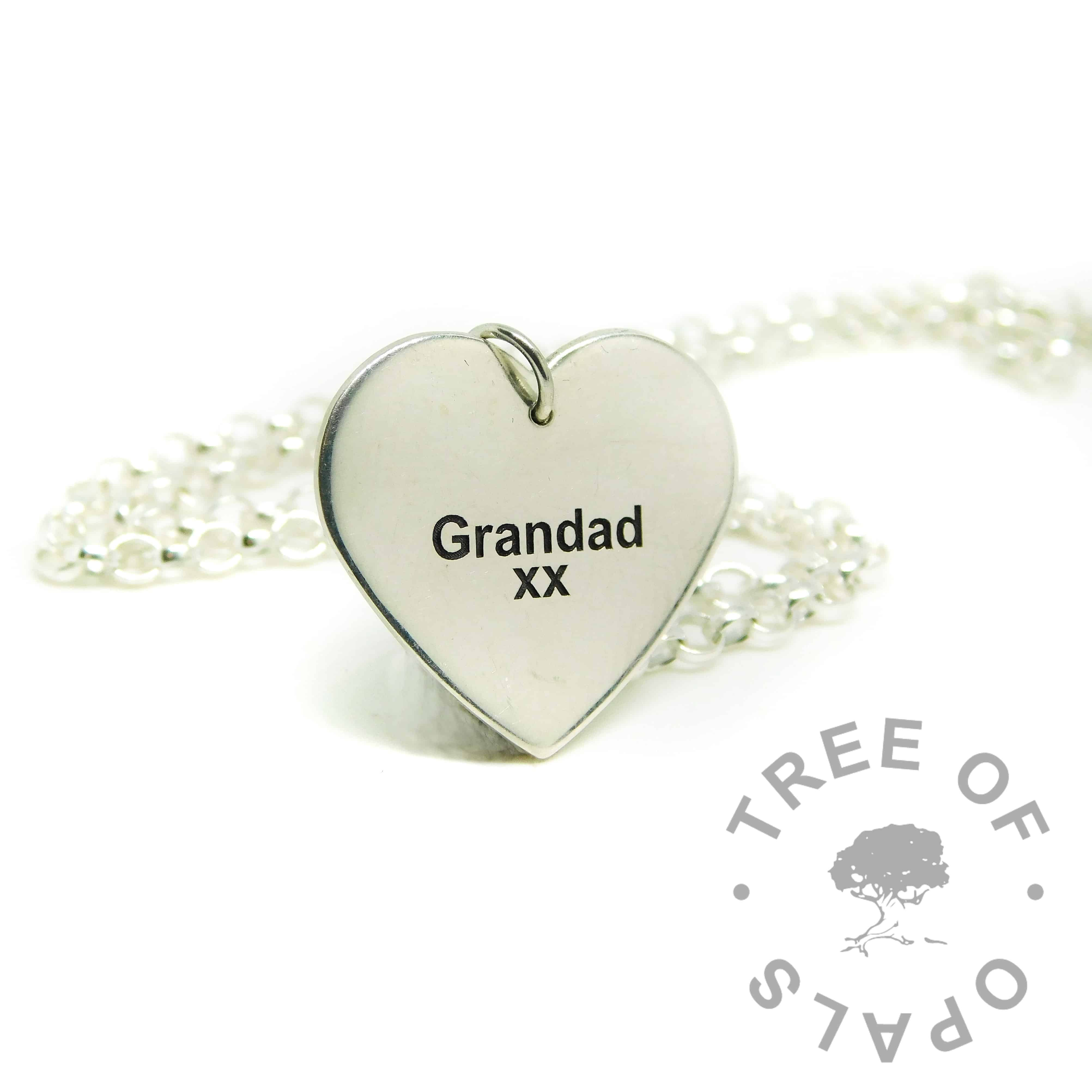 medium heart pendant with engraving in Arial font. Shown with classic medium necklace upgrade