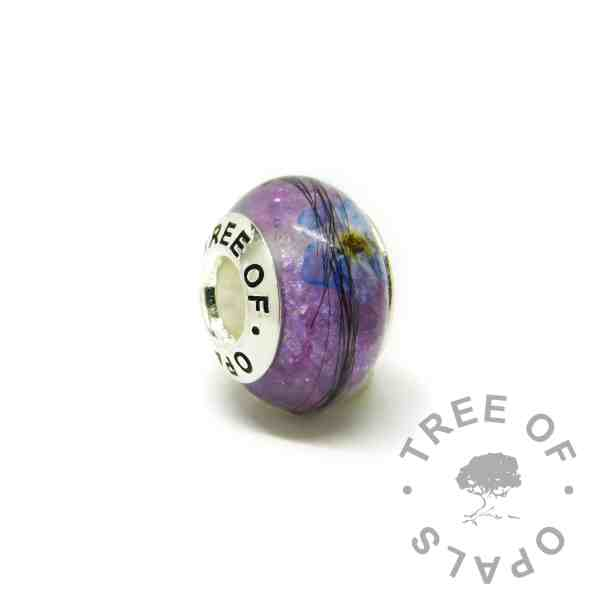 lock of hair charm with Tree of Opals core, orchid purple resin sparkle mix. Forget me not VIP addition