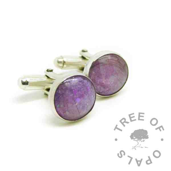 lock of hair cufflinks with Orchid Purple Resin Sparkle Mix, white/clear see-through hair, two pairs