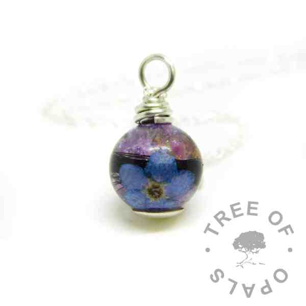 Orchid Purple Resin Sparkle mix orb with necklace and lock of hair necklace. Forget me not
