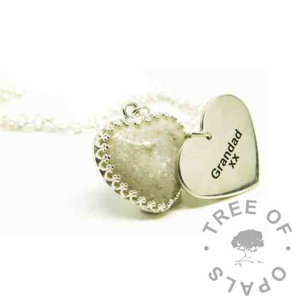 ashes heart necklace with Unicorn White Resin Sparkle Mix. Shown with a medium heart pendant