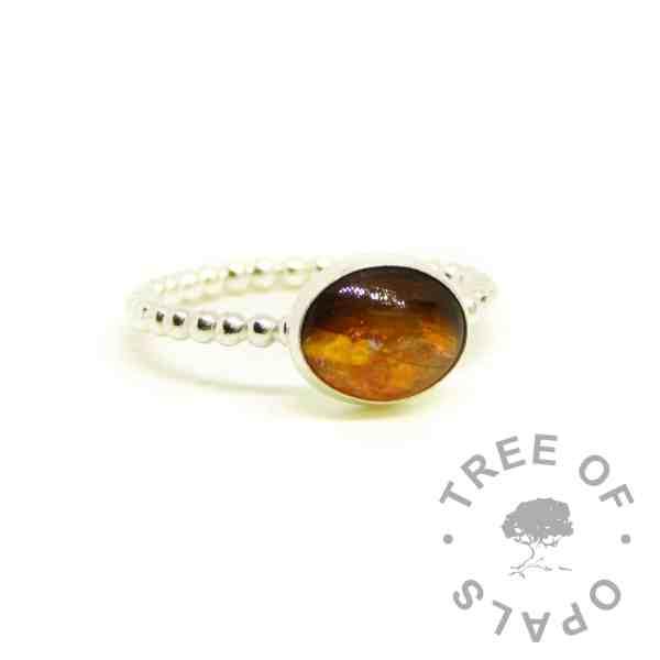 orange hair ring on bubble wire band. Tangerine orange resin sparke mix