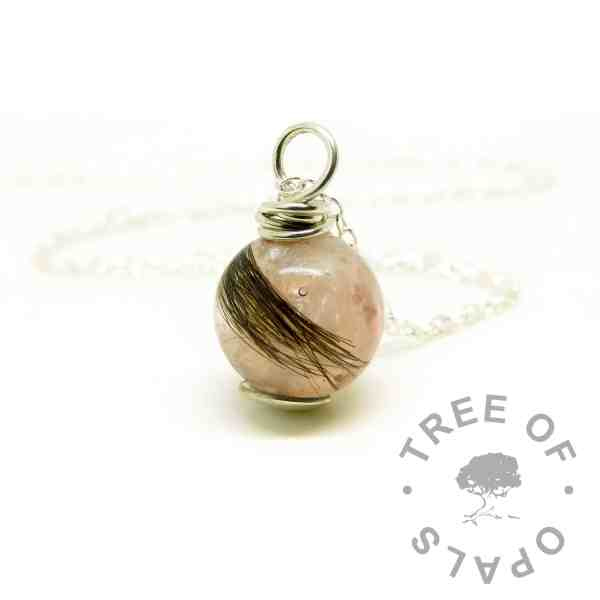 pink hair orb wire wrapped necklace setting. Fairy pink resin sparkle mix