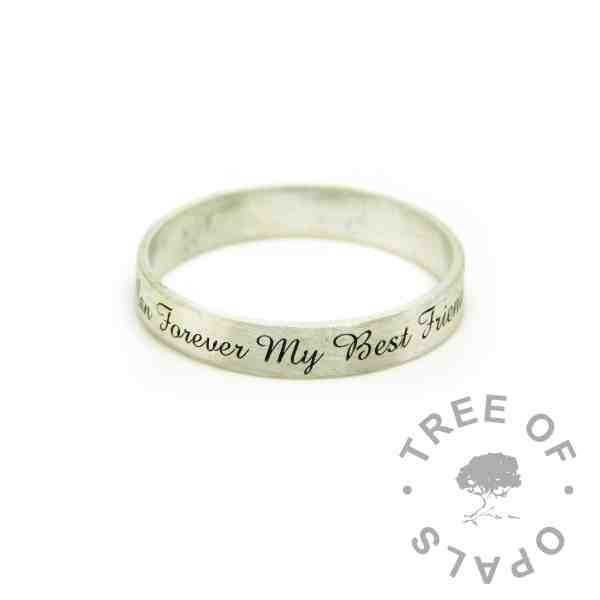 Amazone BT engraved ring - brushed band 3mm ring engraved on the outside