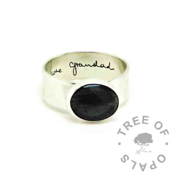 handwriting hair jewellery ring, 6mm shiny band engraved inside with handwriting, vampire black resin sparkle mix
