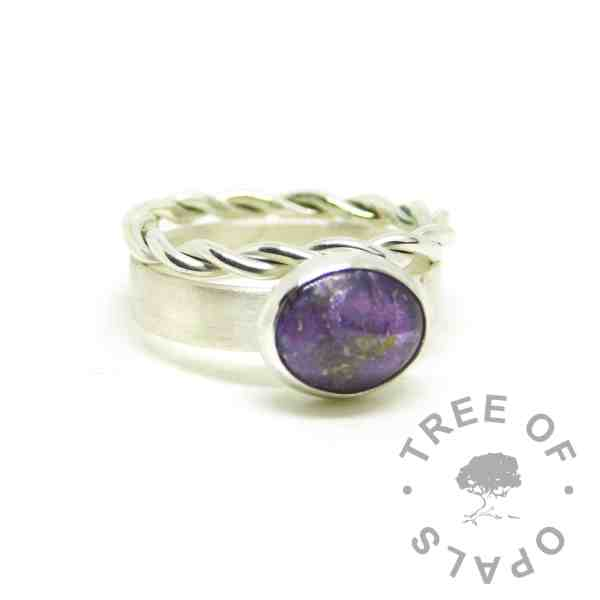 purple ashes jewellery, ashes ring on 3mm brushed band with orchid purple resin sparkle mix, shown with a twisted slim stacking ring. All high purity 935 Argentium solid silver