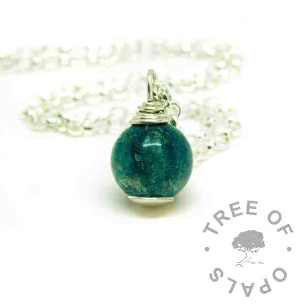 teal ashes jewelelry necklace. Mermaid teal resin sparkle mix cremation ashes orb necklace with medium heavy classic chain upgrade