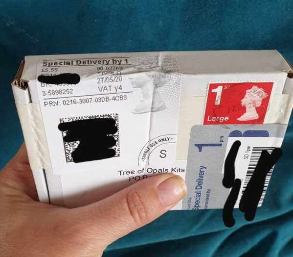 Example of a kit sent correctly, using Special Delivery. The client wrote their own address on the back for a return address. They paid £5.55 because the Post Office took off the value of the stamp
