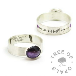 hair ring footprint engraving and font in Silver South Script. Dark hair and orchid purple resin sparkle mix, purple cold enamel heart emojis